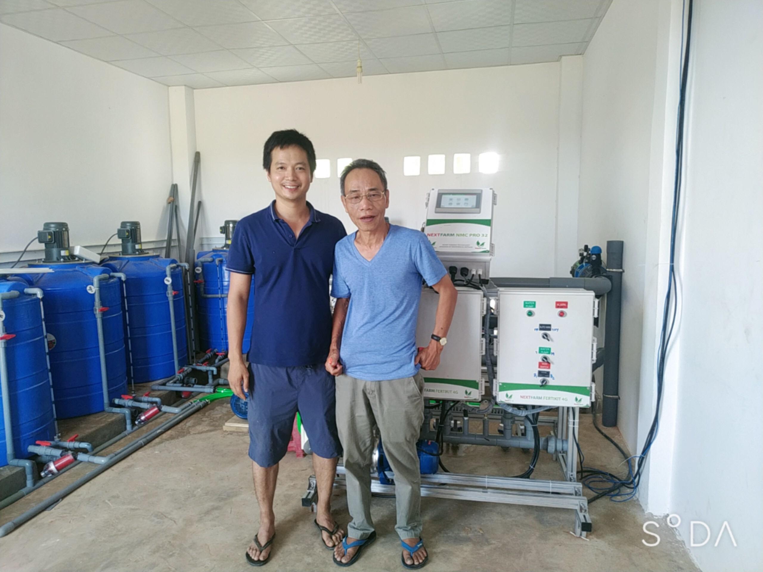 CEO Nextfarm ông Trần Quang Cường và anh Đàm Xuân Hải chủ Kim Long Farm